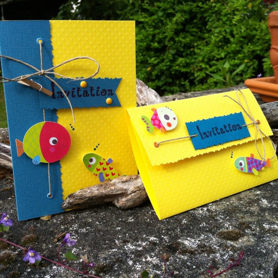 Carton d'invitation baptême ou anniversaire d'enfant thème mer et poisson jaune et bleue