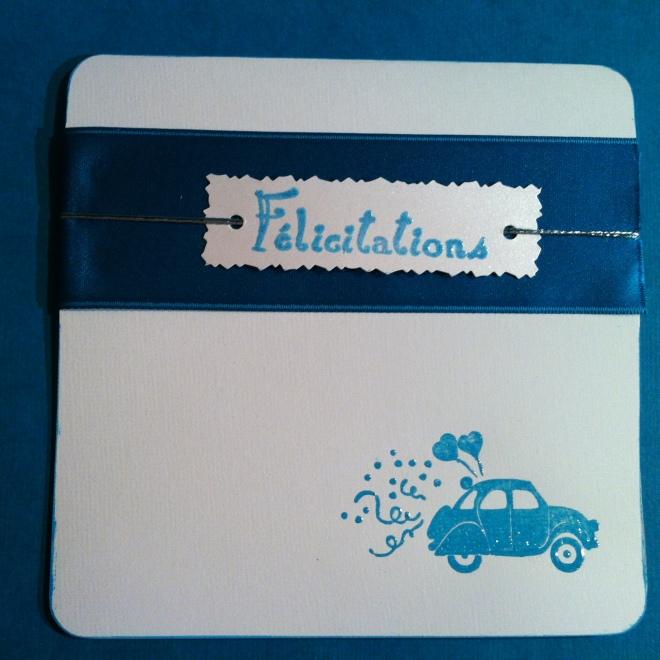 Carte félicitation mariage humoristique coccinelle bleue