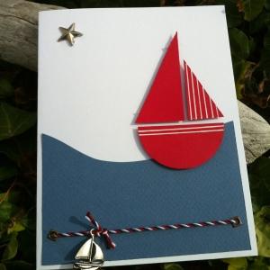 Mon faire part est unique détail carte faite main bateau mer breloque étoile bleu blanc rouge 3