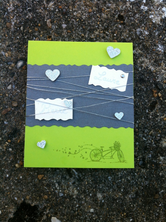 Mon faire-part est unique: faire part de mariage vert et gris fil d'argent