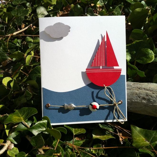 Carte bateau mer, marin, poisson, perle,