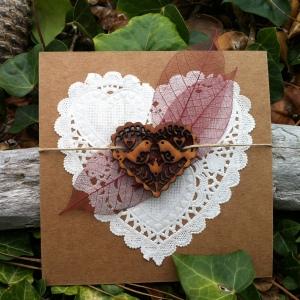 félicitation mariage coeur en bois simple chic original