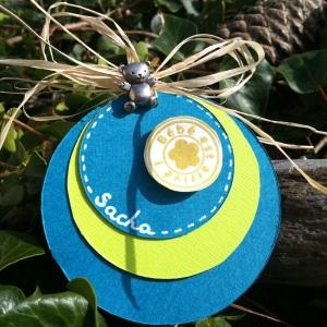 faire-part naissance rond bleu vert anis