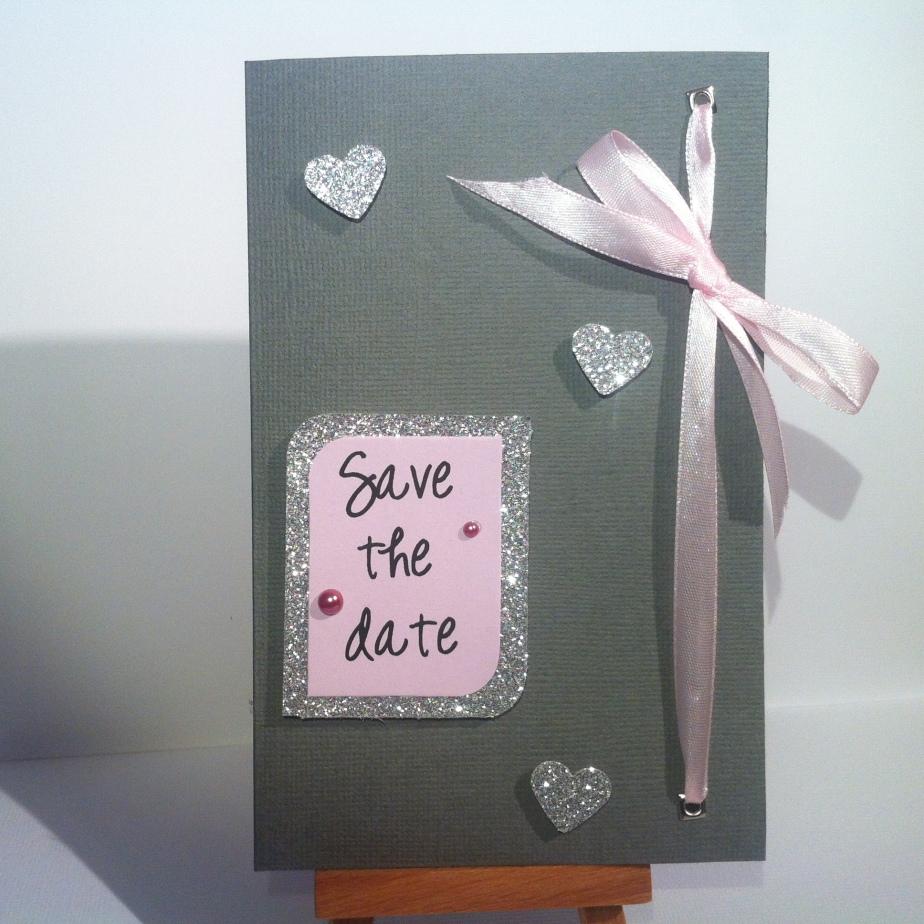Carte «Save the date» gris et rosepastel