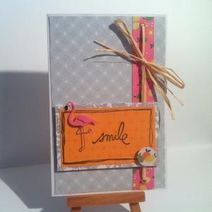 Carte smile avec flamand rose et raphia