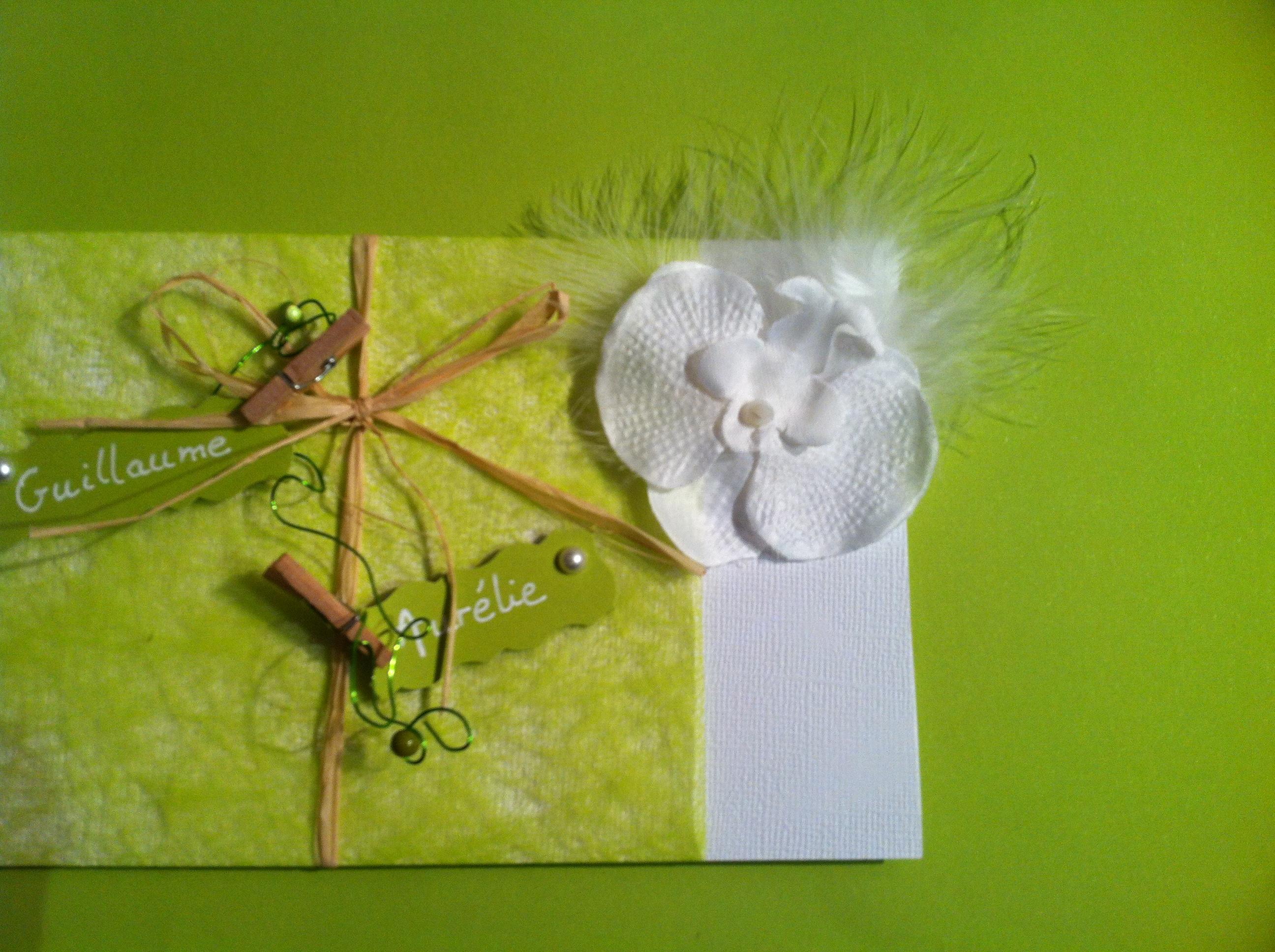 le faire part vert anis et blanc orchid e et plume mon faire part est unique cr atrice. Black Bedroom Furniture Sets. Home Design Ideas