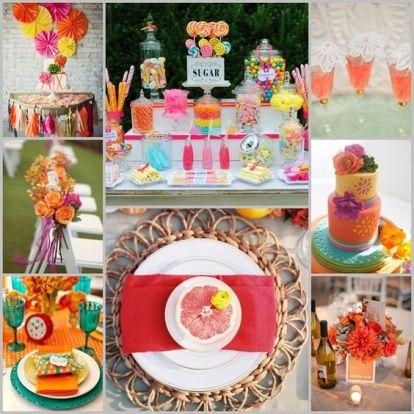 Déco de mariage coloré, couleurs vives, acidulées