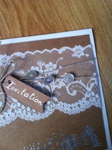 Faire-part invitation mariage en kraft et dentelle