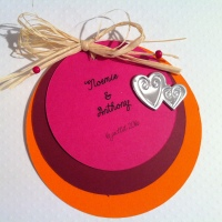 Faire-part rond mariage couleurs flashy