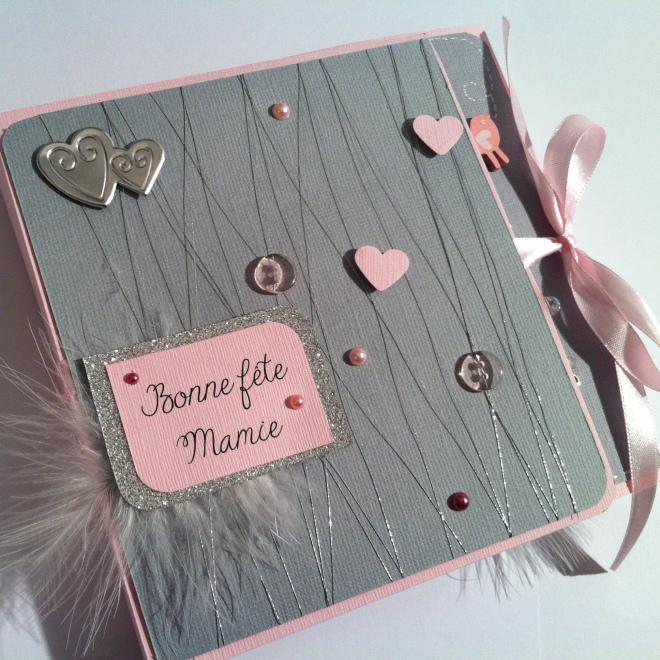 Mini album photos bébé pour fête des grands-mères - annonce arrivée bébé - rose et gris