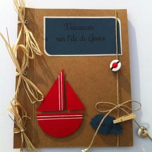 Mini-album photos à personnaliser thème mer - bateau, beret de marin, coquillage - mon faire-part est unique 1