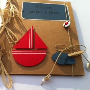 Mini-album photos à personnaliser thème mer - bateau, beret de marin, coquillage - mon faire-part est unique 5