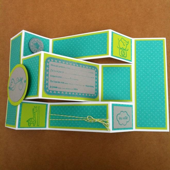 Carte de naissance garçon en accordéon