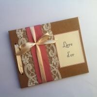 Livre d'or de mariage chic et élégant en kraft et dentelle avec ruban