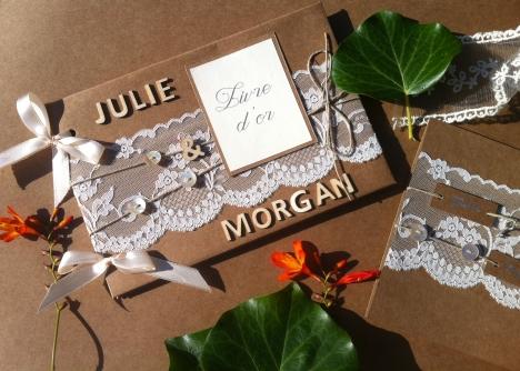 Livre d'or mariage champêtre bohème chic dentelle personnalisé