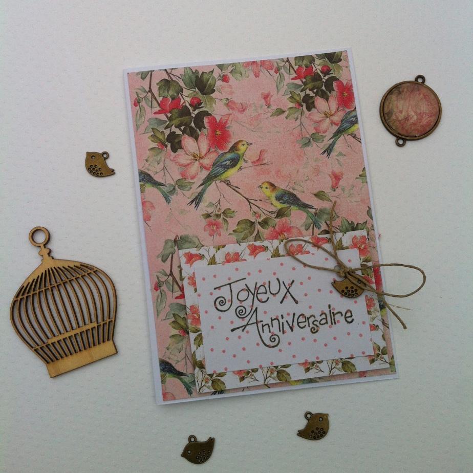 Carte d'anniversaire rose poudrée style shabby chic femme oiseaux