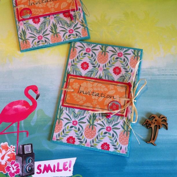 Carte d'invitation thème tropical, île
