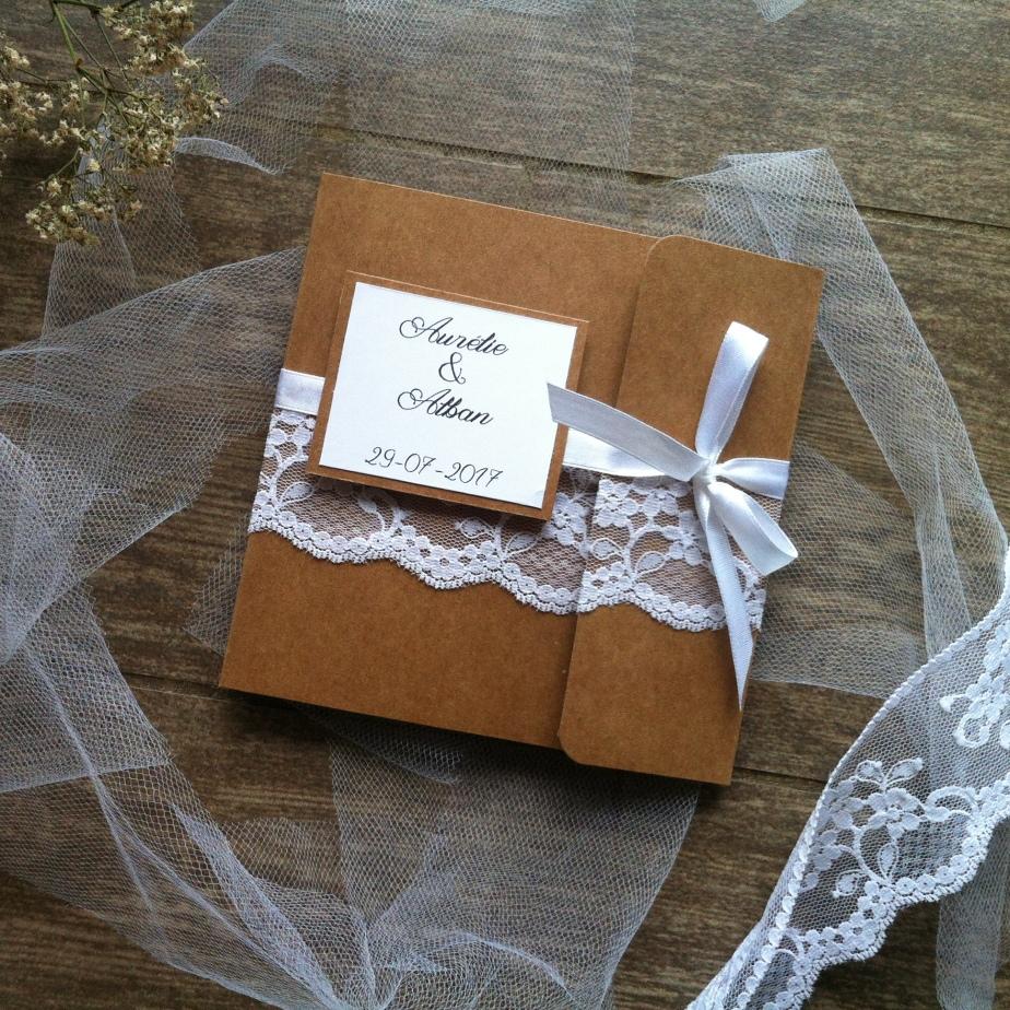 Faire-part de mariage en kraft, dentelle et satinblanc