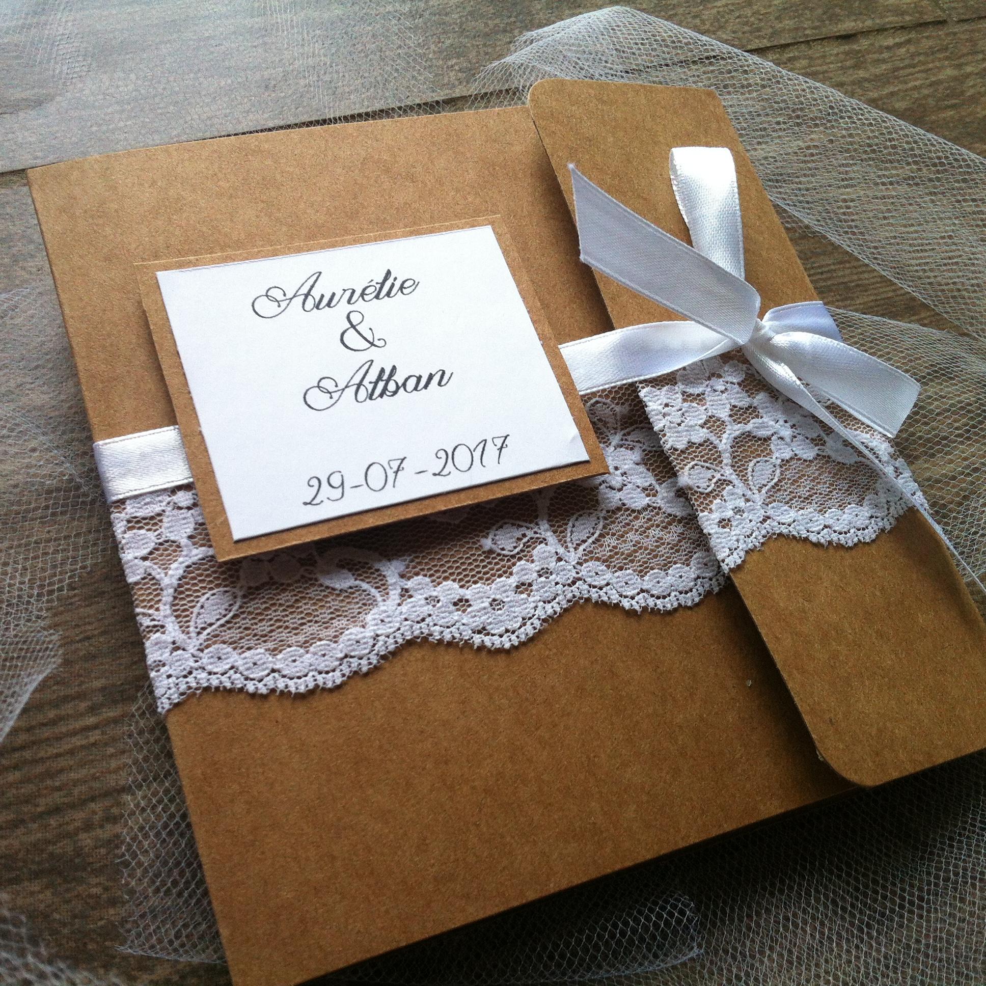 Bien connu faire-part-de-mariage-en-kraft-et-dentelle-ruban-de-satin-chic-et  YO31