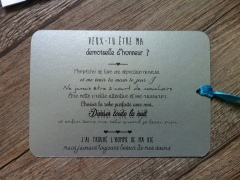 Carte de demande en mariage, témoin, demoiselle d'honneur