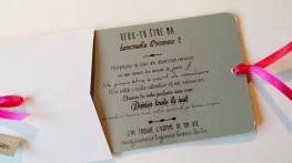 Carte Veux tu être ma demoiselle d'honneur - mon témoin blac, gris et fuschia 3