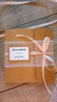 Faire-part invitation mariage kraft, dentelle, rose poudré, rose pastel, rose pale, ruban, champêtre et original 5