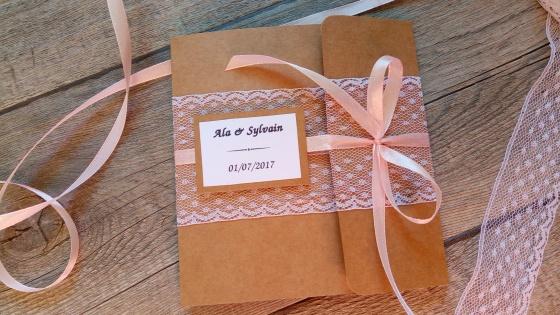 Faire-part invitation mariage kraft, dentelle, rose poudré, rose pastel, rose pale, ruban, champêtre et original 6