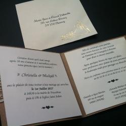 Faire-part invitation mariage kraft et dentelle champêtre chic avec prénoms des mariés, mariage chic et original 5