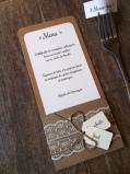 Mariage dentelle - marique place, menu, range-couvert, décoration de table mariage champêtre, original 1