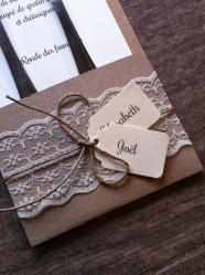 Mariage dentelle - marique place, menu, range-couvert, décoration de table mariage champêtre, original 3