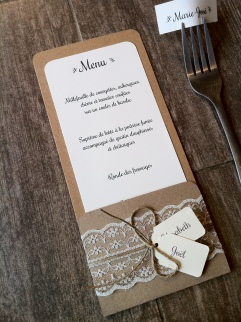 Mariage dentelle - marique place, menu, range-couvert, décoration de table mariage champêtre, original 5