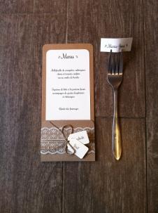 Mariage dentelle - marique place, menu, range-couvert, décoration de table mariage champêtre, original 7