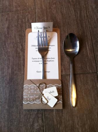 Mariage dentelle - marique place, menu, range-couvert, décoration de table mariage champêtre, original 8