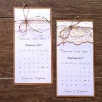 Save the date - faire part invitation mariage dentelle, thème mariage champêtre 1