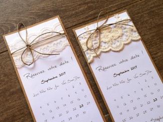 Save the date - faire part invitation mariage dentelle, thème mariage champêtre 3