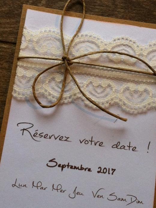 Save the date - faire part invitation mariage dentelle, thème mariage champêtre 4