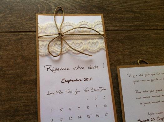 Save the date - faire part invitation mariage dentelle, thème mariage champêtre 5
