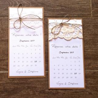 Save the date - faire part invitation mariage dentelle, thème mariage champêtre 6