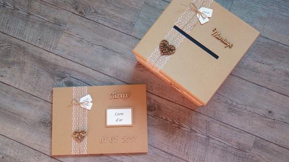 Urne de mariage et livre d'or, décoration mariage champêtre, chic kraft et dentelle 1