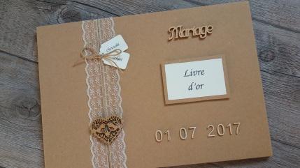 Urne de mariage et livre d'or, décoration mariage champêtre, chic kraft et dentelle 2