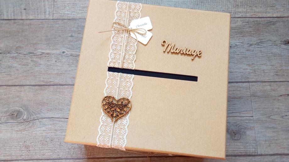 Urne de mariage et livre d'or, décoration mariage champêtre, chic kraft et dentelle 6