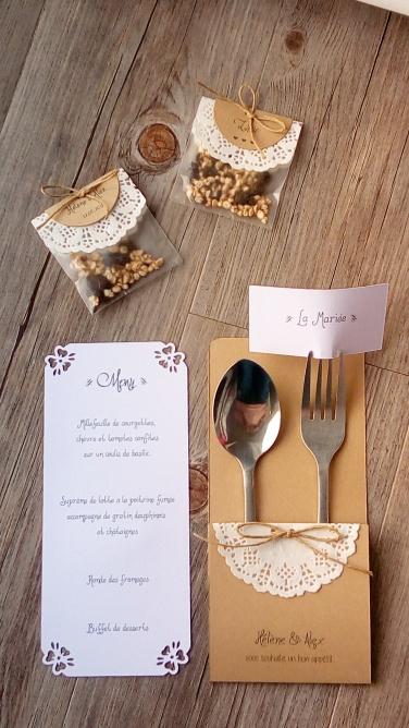 3-en-1 menu marque place, range-couvert, déco de table mariage, invités mariage 2