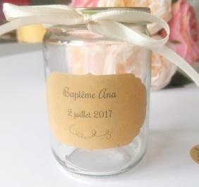 20 Etiquettes autocollantes personnalisées baptême mariage décoration de table 3