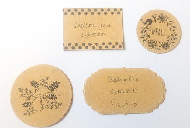 20 Etiquettes autocollantes personnalisées baptême mariage décoration de table