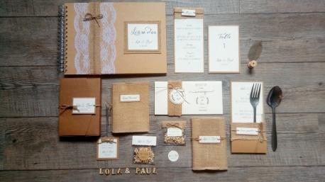 Faire-part de mariage thème champêtre - toile de jute - gamme mariage champêtre 3