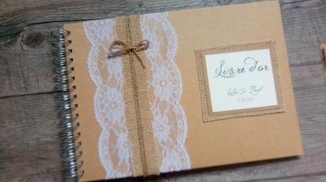 Faire-part de mariage thème champêtre - toile de jute - gamme mariage champêtre livre d'or 2