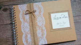 Faire-part de mariage thème champêtre - toile de jute - gamme mariage champêtre livre d'or