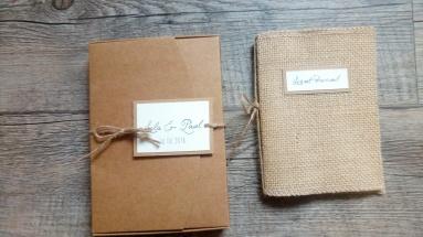 Livret d'accueil mariage et son coffret mariage thème champêtre - toile de jute - gamme mariage champêtre