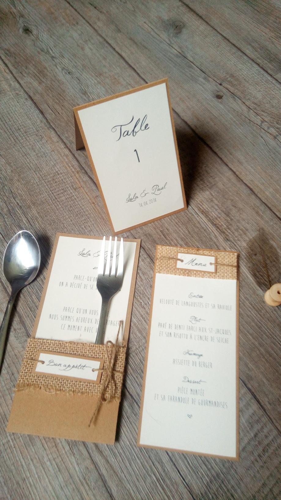 Menu, marque place, range-couverts, numéro de table, décoration de table de mariage thème champêtre - toile de jute - gamme mariage champêtre 2
