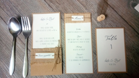 Menu, marque place, range-couverts, numéro de table, décoration de table de mariage thème champêtre - toile de jute - gamme mariage champêtre 3